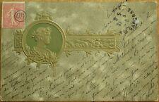 Art Nouveau, Embossed, Color Litho 1903 Postcard - Man in Profile