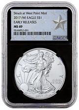 2017-(W) Silver Eagle Struck at West Point Mint NGC MS69 ER Black Star SKU45362