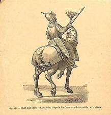 TURQUIE TURKIYE CHEF DES SPAHIS ANATOLIE GRAVURE ENGRAVING 1895