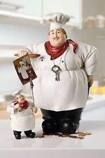 Spardose 'Luigi' der Koch weiß Deko Figur Geschenk für Hobbyköche NEU