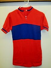 Vintage EUC Wool Cycling Jersey sz 2 Italy made Red Blue Tour Race France? Bike