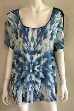 New! LUXE DELUXE blue print stretch Silk front top ~ sz 16