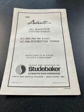 Studebaker Avanti, Am Fm Radio Brochure, Very Cool !