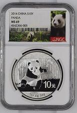 2014 China Panda NGC MS69 S10Y 1 oz .999 Fine Silver Chinese Coin Graded 10 Yuan