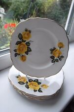 Royal Vale Yellow Rose Side Plates x 5 Bone China British Vintage