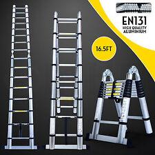 16.5FT Multi-Purpose Folding Telescopic Aluminium A Frame Shape Ladder
