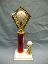 Baseball theme ball trophy marble base red