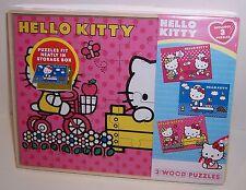 SET/3 Sanrio HELLO KITTY 24-PIECE WOOD Jigsaw PUZZLES Puzzle & Storage Box NEW!!