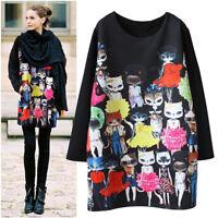 Langarm Minikleid Mini TOP Kleid Tunika Katze Print Brustumfang bis 120 cm BC432