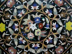 Marble Table Top Semi Precious Stones Inlaid Center Table with Marquetry Art
