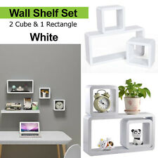 WHITE SET 3 CUBE RECTANGLE WALL MOUNTED SHELVES FLOATING SHELF BOOKCASE HANGING