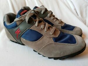 Specialized Men's Lace Up Riding Cycling Shoes Size 37 Suede Nylon Blue Gray