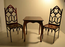 """Furniture for Dolls 2 Chairs & Table 1/4 16-18"""" TONNER BJD Gothic style"""