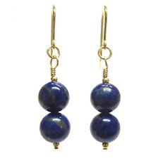 Lapis Lazuli Earrings Natural Semi-precious Gemstone Beads 9ct Gold Hooks Drops