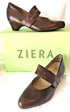 ZIERA CHIC LEATHER MARY JANE STYLE HEELS/SHOES,SZ 37.5W (6.5-7),NEW! RRP$239.95!