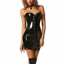 Gothic Womens Sexy Wetlook PVC Faux Leather Corset Dress Long Shape Silm Body