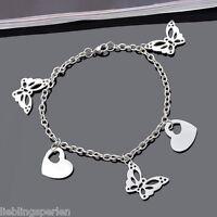 1 Mode Edelstahl 316 Bettelarmband Armkette Herz Schmetterling Anhänger 22cm L/P