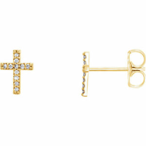 Diamond Cross Earrings In 14K Yellow Gold (1/10 ct. tw.)