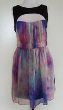 FOREVER NEW Pinks/Blues/Black Silk Dress 14