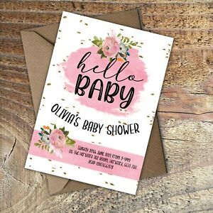 BABY SHOWER INVITATIONS Hello Baby Girl! Personalised PK 10