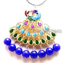 "New Fashion Big 40mm Multicolor Peafowl Pendant 6mm Blue Jade 17"" necklace-5883"