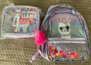 NWT Justice Girls No Drama Llama Sequin Shaky Backpack & Lunch Box Tote Set LOT