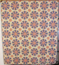 Whimsical Fun! c 1930s Dresden Plate Circles Applique Quilt Vintage Pink blue