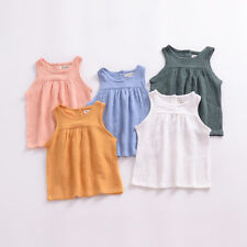 1pc Baby toddler clothes summer girls T shirt tops baby casual linen Vest dress