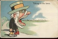 Old Man Wide Open Mouth - Town Forced Perspective E. Nash Comic Postcard rpx