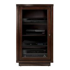 Espresso Media Wood Cabinet Audio Tower Electronics AV Stand Stereo Shelves Door