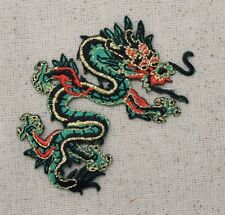 Iron On Embroidered Applique Patch - Chinese Green/Red Dragon Facing RIGHT SMALL