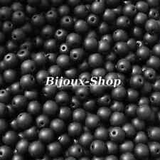 500 Perles de verre 4mm Noir Mat