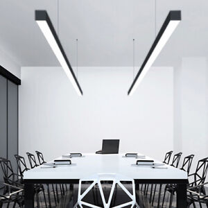 26W-56W 51*64mm 1.2m 1.8m&2.5Chain F Linear Pendant LED Light 0-10V DIMMABLE Blk