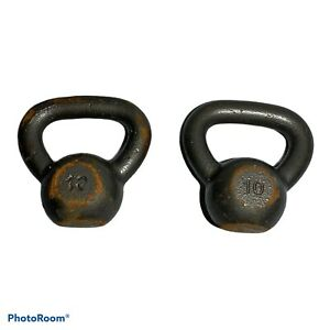 Pair (2) CAP 10lb kettlebell Weight Black Enamel Painted Cast Iron Fast Shipping