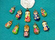 Lote De Pintado a Mano 10 Verde Azul encantos perlas pulsera de muñeca rusa móvil colgante