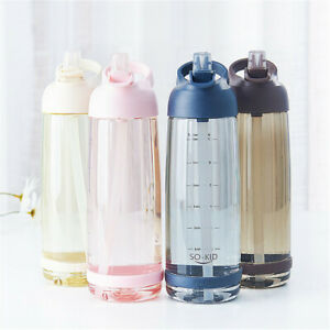 1L Portable Sports Water Bottle with Straw Plastic BPA Free Leakproof Drinks Mug