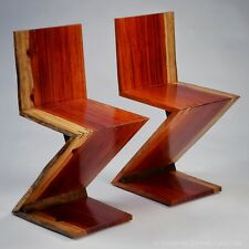 Two Live Edge Book-matched Padauk Rietveld-style Zig Zag Chairs (1 pair)