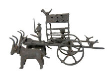 Figurine Ancienne Chariot et ses Buffles Art Tribal Orissa Laiton  Inde