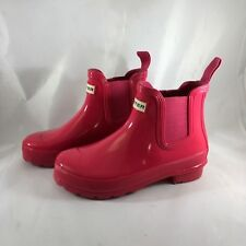 Hunter Original Chelsea Gloss Dark Pink Ankle Rain Boots US 5