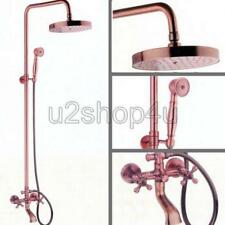Antique Red Copper Wall Mounted Rain Shower Faucet Set Bathtub Mixer Tap Urg013