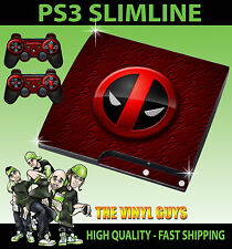 Playstation Ps3 Slim pegatina Deadpool logotipo 02 Merc con una Boca Skin & Pad Skins