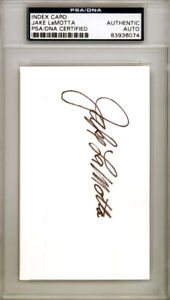 Jake LaMotta Autographed Signed 3x5 Index Card Raging Bull PSA/DNA 83936074