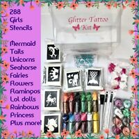 GIRLS GLITTER TATTOO KIT 20 glitter OR REFILL ITEMS DROP DOWN MENU 290 stencils