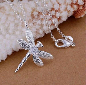 925 Sterling Silver Dragonfly Necklace Crystal Pendant on Chain UK Seller