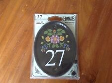 NEW Porcelain HOUSE NUMBER No 27 Floral Oval Sign Plaque