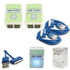 2X 4 USB PORT HUB WALL ADAPTER+6FT CABLE CHARGER DATA BLUE FOR IPHONE IPOD IPAD