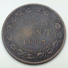 1893 Canada Copper 1 One Large Cent Penny Circulated Canadian Coin C338