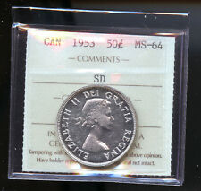 1953 SD Canada Silver 50 Cents ICCS Certified MS64 DCD25