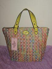 Juicy Couture Multi Color Top Zip SHOULDER PURSE HANDBAG Woven Straw NWT  #AS32
