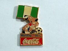 Soccer 1994 Nigeria  World Cup Event  Pin  Flag & Striker Dog Mascot  (#145)